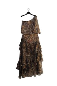 NEHIR Long Forrest Print One-Shoulder Dress