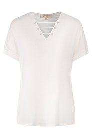 Top v-neck with button details