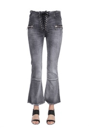 LACEUP FLARE CROPPED JEANS