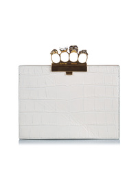 Embossed Leather Knuckle Clutch Bag