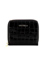 Small Metallic Soft Croco Zip Around Wallet