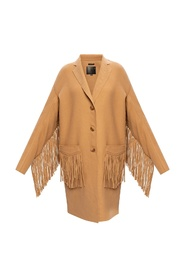 Fringed wool coat