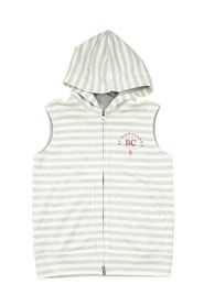 Ärmlös tröja i bomull och linne med huva och tryck