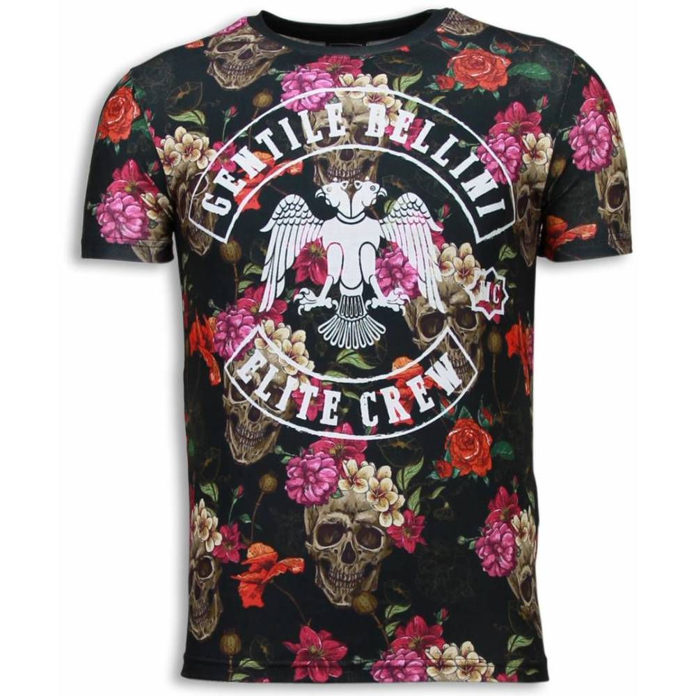Skulls and Roses Digital Print T-shirt