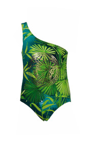 Jungle print Medusa detail one-piece swimsuit