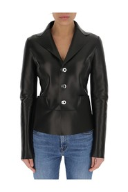 panelled leather blazer