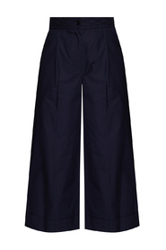Wide-legged pleat-front trousers