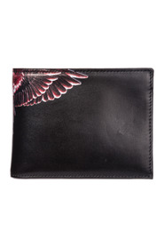 men's genuine leather wallet credit card wings