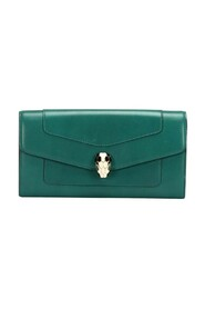 pre-owned Serpenti Forever Leather Long Wallet in calfskin