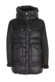 LONG PADDED JACKET W/FUR AND APPLICATED POCKETS