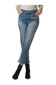 HIGH WAIST JEANS WITH RAW CUT ON THE BOTTOM