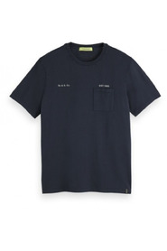 Washed crewneck tee with chest pocket 0005 155411