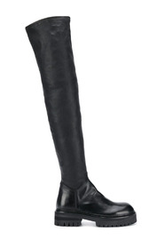 STRETCH LEATHER THIGH HIGH BOOTS