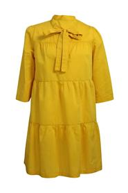 COTTON AND SILK DRESS WITH OCHER BLAZE