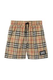Vintage check swim boxer with logo