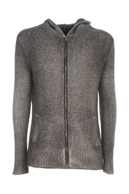 HOODED BRUSHED BIO BLEND CARDIGAN WITH ZIP