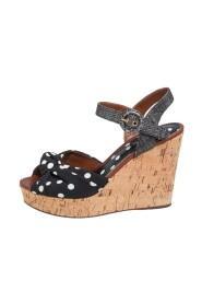 Polka Dot Fabric and Raffia Knot Cork Wedge Sandals