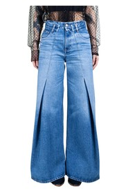 Flared Front Pleat Jeans