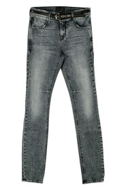 Belted Skinny Faded Black Stretch Jeans