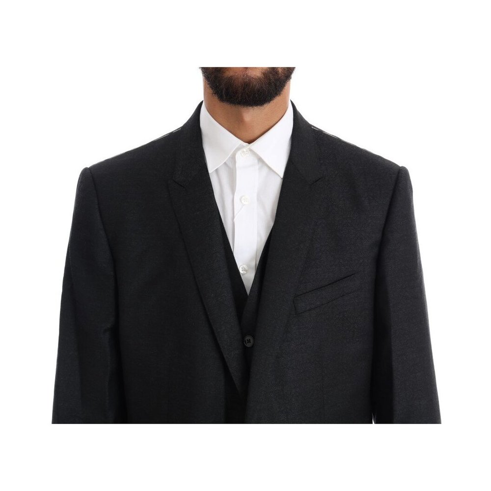 Gray Wool GOLD Slim Fit 3 Piece Suit   Dolce & Gabbana   Garnitury całe - Najnowsza zniżka oCcJA