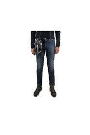 Faded raw jeans with interior camouflage