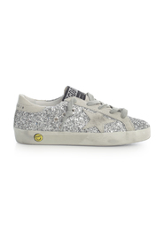 SUPERSTAR GLITTER UPPER SUEDE STAR AND HEEL SNEAKERS