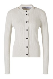 Ribbed Cardigan Cut Out Neck
