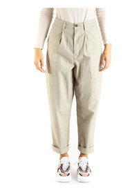 100% cotton high-waisted trousers