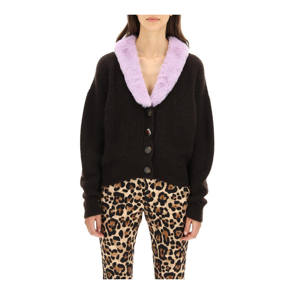Cardigan with eco-fur
