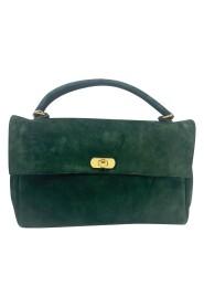 suede top handle satchel bag