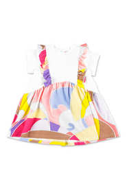 abstract print layered effect dress