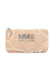 Tulle logo clutch bag