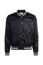 Laminated bomber jacket with back logo