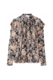 Tempest Frolic Ruffled Floral Print Silk Bluse