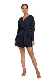 Sukienka Mini Z Bufiastymi Rękawami We Wzór