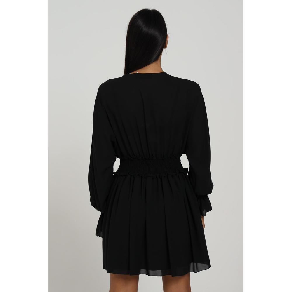 Feminista Black DRESS WITH SPRING AT THE WAIST Feminista