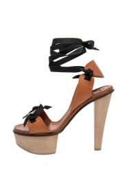 Leather Platform Ankle Wrap Sandals