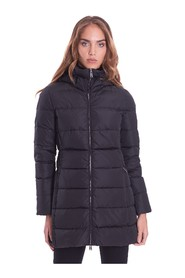 LONG QUILTED DOWN JACKET WITH DETACHABLE HOOD