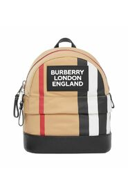 Striped backpack with logo application