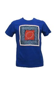 Royal blue men's T-shirt with application