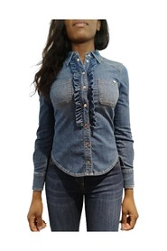 Faded jabot jeans blouse