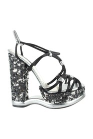 Sequin Strappy Wedges -Pre Owned Condition Excellent