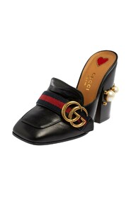 Brukte Leather GG Pearl Embellished Web Detail Loafer Mule Sandals