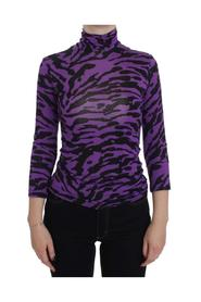 Purple Tiger Print Stretch Turtleneck Sweater