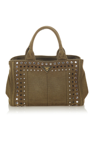 Pre-owned Canapa Studded Satchel Fabric Canvas