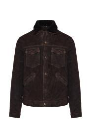 Faux fur-trim suede jacket