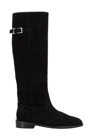 Suede boots with strap