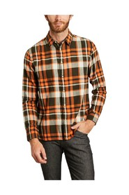 Larch checked organic cotton flannel shirt