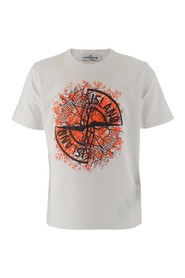 Stone Island Kids T-shirt in white cotton jersey with maxi logo printed on the front panel. Color: white Made in: Tunisia Composition: 100% cotton