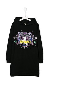 Tiger and stars embroidery hooded dress